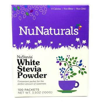 Купить NuNaturals NuStevia White Stevia Powder 100 Packets 100 g
