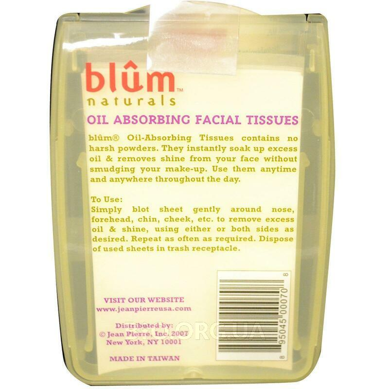 Blum Naturals Oil Absorbing Facial Tissues 50 Sheets