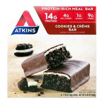 Купить Atkins Meal Bar Cookies n' Creme Bar 5 Bars 50 g Each