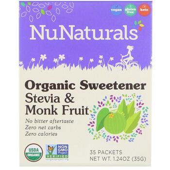 Купить Organic Sweetener Stevia & Monk Fruit 35 Packets 35 g