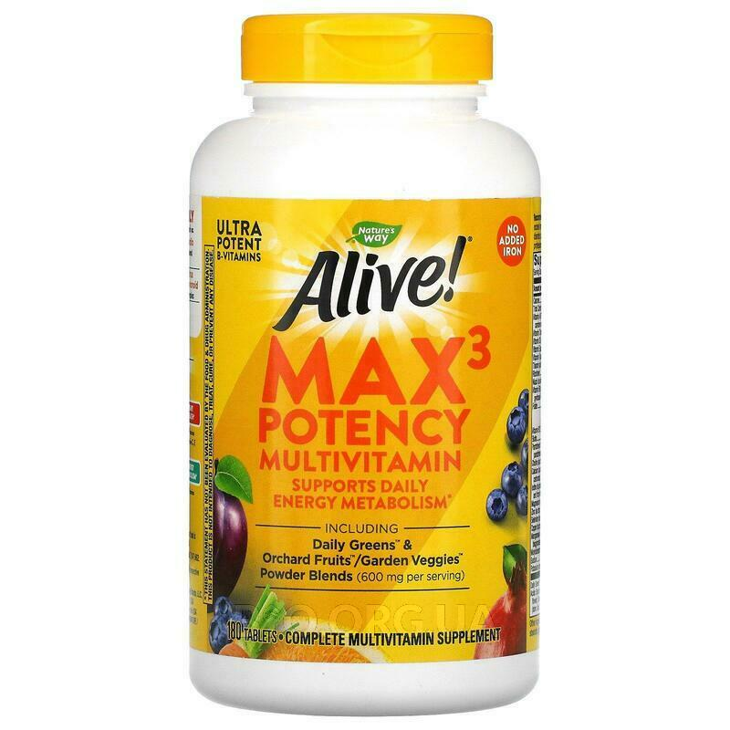 Нэйчерс Вэй Alive Max Potency Multi Vitamin No Added Iron 180 ... фото товара