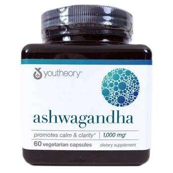 Купить Youtheory Ashwagandha KSM-66 1000 mg 60 Vegetarian Capsules
