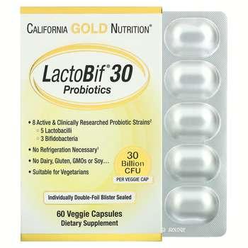 Купить California Gold Nutrition LactoBif Probiotics 30 Billion CFU 6...