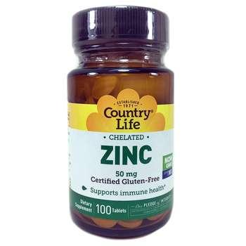 Купить Country Life Chelated Zinc 50 mg 100 Tablets