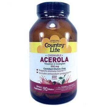 Купить Acerola Vitamin C Chewable Berry 500 mg 90 Wafers ( Ацерола з ...
