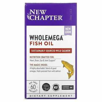 Купить New Chapter Wholemega Fish Oil 1000 mg 60 Softgels