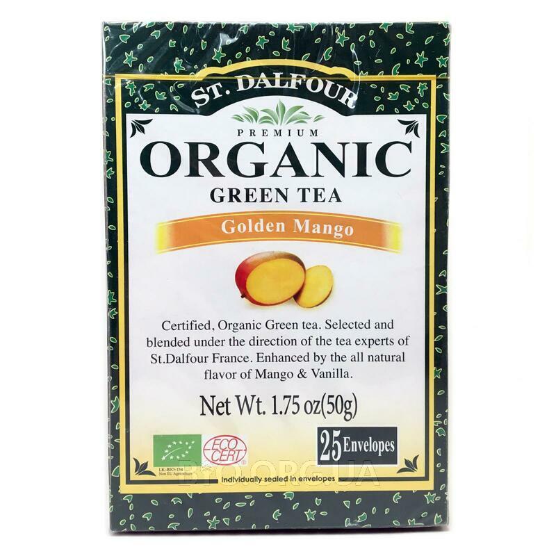 Зеленый чай Золотое Манго 25 пакетиков 50 г фото товара