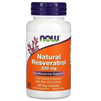 Купить Now Foods Natural Resveratrol 200 mg 60 Veg Capsules