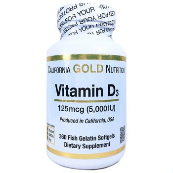 Купить Vitamin D3 125 mcg 5000 IU 360 Fish Gelatin Softgels ( Вітамін...