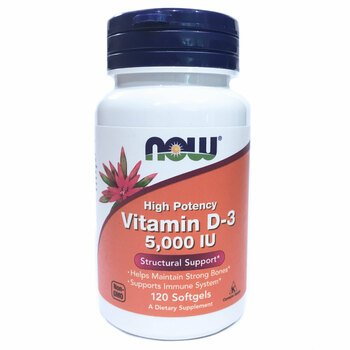 Купить Now Foods Vitamin D3 5000 IU High Potency 120 Softgels