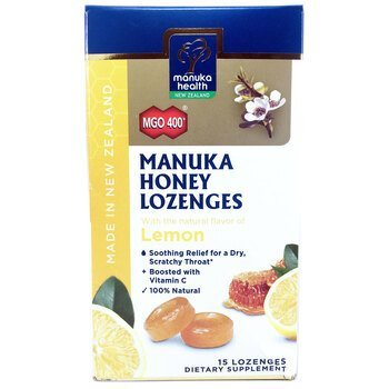 Купить Manuka Honey Lozenges Lemon MGO 400+ 15 Lozenges (Пастилки з м...