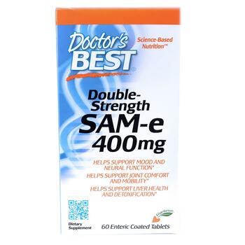 Купить Doctor's Best SAM-e Double-Strength 400 mg 60 Enteric Coated T...