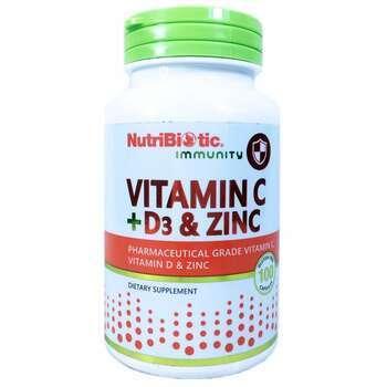 Купить NutriBiotic Immunity Vitamin C + D3 & Zinc 100 Capsules