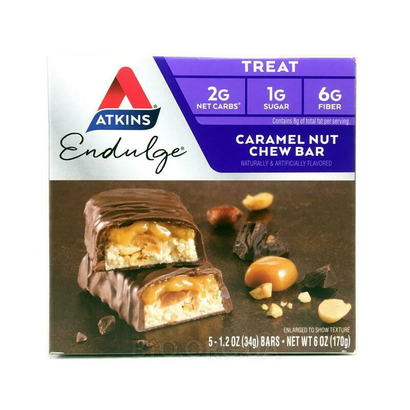 Аткинс шоколадные батончики с карамелью и орехами 5 батончиков... фото товара