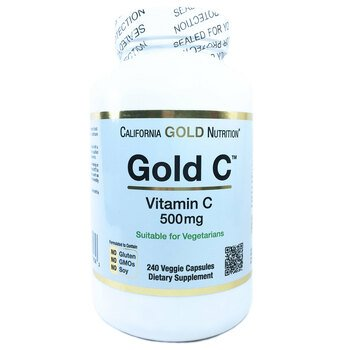 Купить Vitamin C 500 mg 240 Caps (Каліфорнія Голд Нутришн Вітамін C 5...