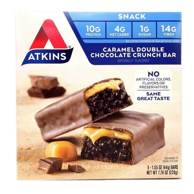 Аткинс хрустящий батончик Карамель и двойной шоколад 5 батончи... фото товара