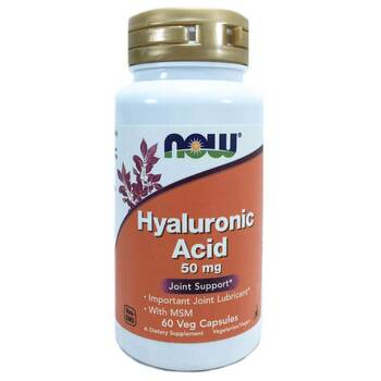 Купить Now Foods Hyaluronic Acid 50 mg with MSM 60 Capsules