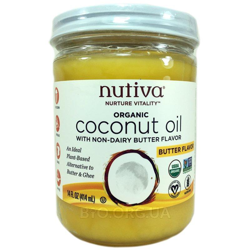 Органическое кокосовое масло с ароматом сливочного масла 414 мл фото товара