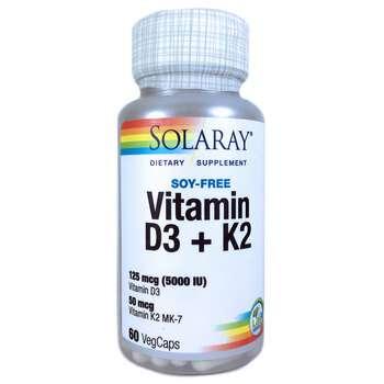 Купить Solaray Vitamin D3 K2 Soy Free 60 VegCaps