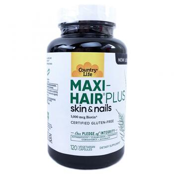 Купить Country Life Maxi-Hair Plus 5000 mcg 120 Veggie Caps