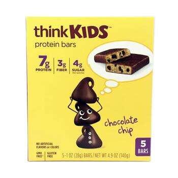 Купить ThinkThin ThinkKids Protein Bars Chocolate Chip 5 Bars 28 g Each