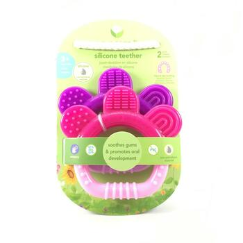 Купить iPlay Inc. Green Sprouts Silicone Teether 3 Months Pink Purple...