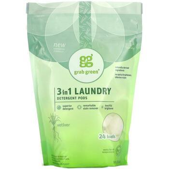 Купить GrabGreen 3 in 1 Laundry Detergent Pods Vetiver 24 Loads 432 g