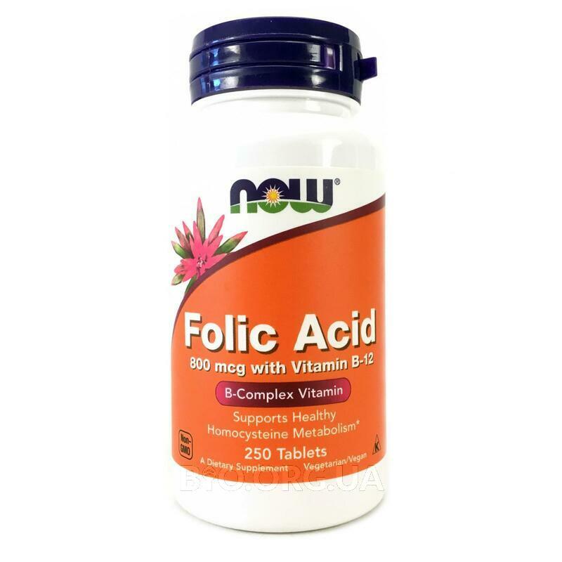 Фолиевая кислота 800 мкг с витамином В-12 250 таблеток фото товара