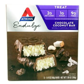 Купить Endulge Chocolate Coconut Bar 5 Bars 40 g Each (Аткінс шоколад...