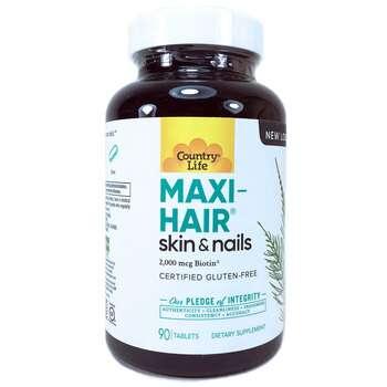 Купить Country Life Maxi-Hair 2000 mcg & PABA 90 Tablets