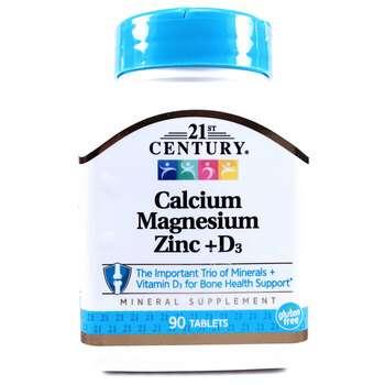 Купить Calcium Magnesium Zinc + D3 90 Tablets (21-е століття, кальцій...