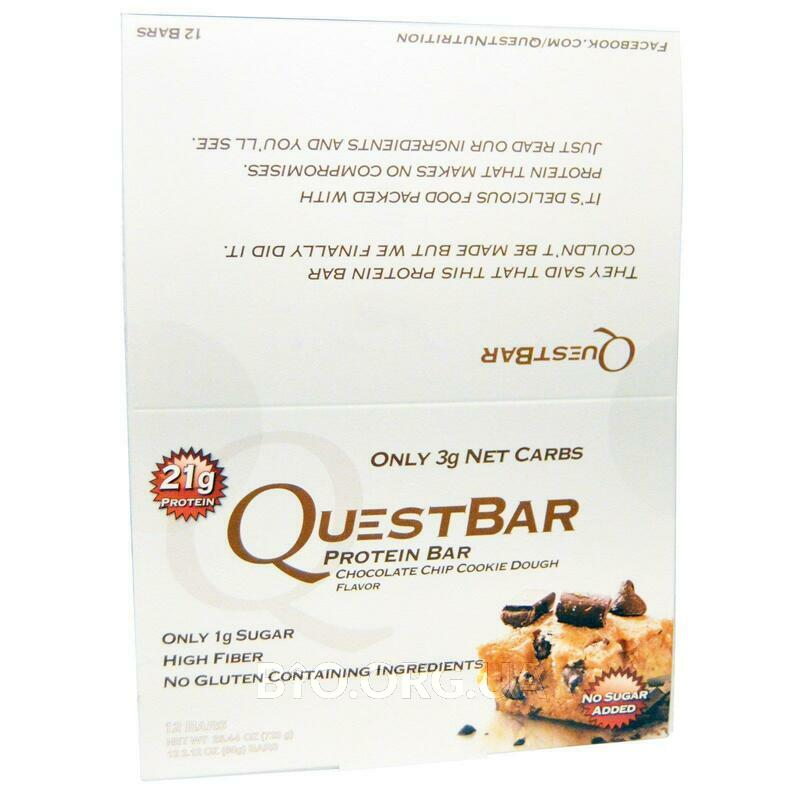 Quest Protein Bar Chocolate Chip Cookie Dough 12 Bars 2.12 60 ... фото товара