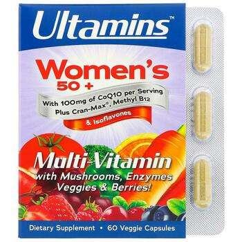 Купить Ultamins Women's 50+ Multi-Vitamin with CoQ10 Mushrooms Enzyme...