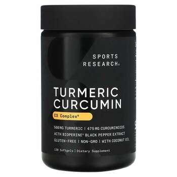 Купить Sports Research Turmeric Curcumin C3 Complex 500 mg 120 Softgels