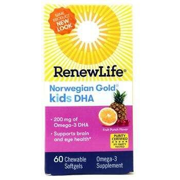 Купить Renew Life Norwegian Gold Kids DHA Fruit Punch Flavor 60 Chewa...
