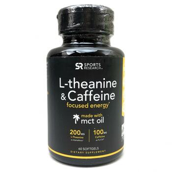 Купить Sports Research L-Theanine & Caffeine with MCT Oil 60 Softgels