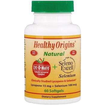 Купить Healthy Origins Lyc-O-Mato Lycopene + Seleno Excell 60 Softgels
