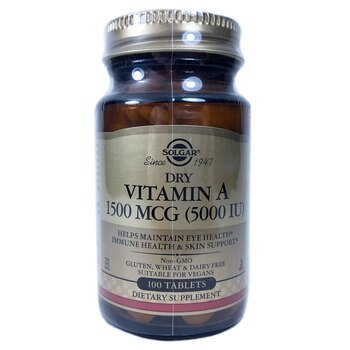 Купить Dry Vitamin A 1500 mcg 5000 IU 100 Tablets