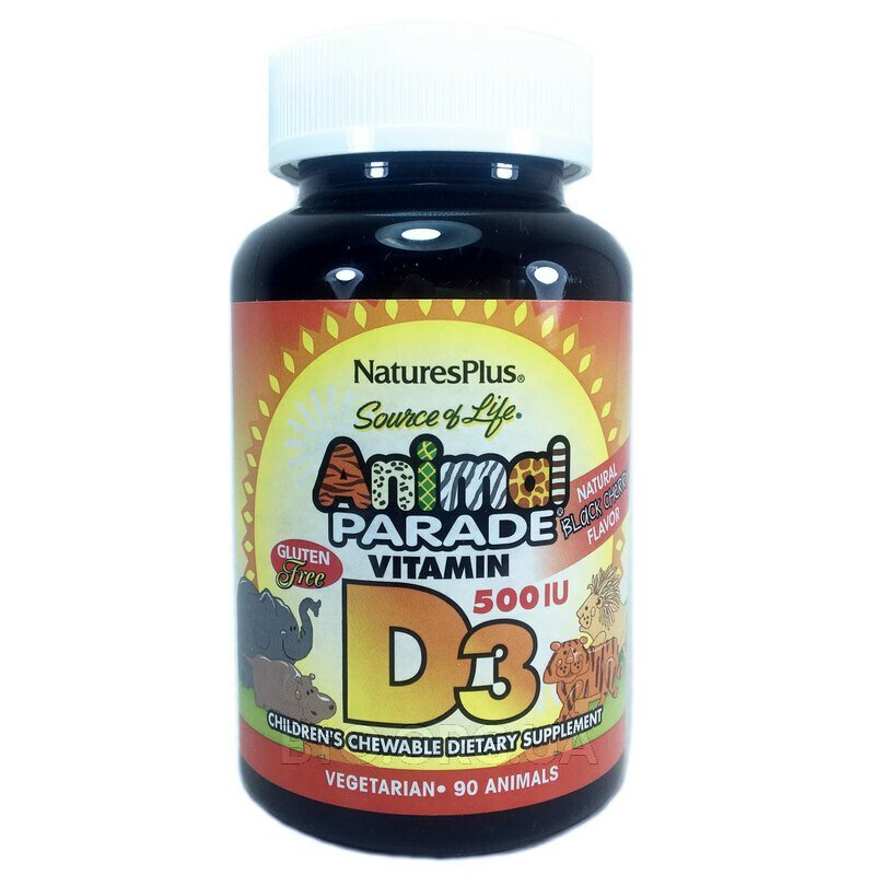 Парад животных Витамин D3 вкус черной вишни 500 МЕ 90 таблеток... фото товара