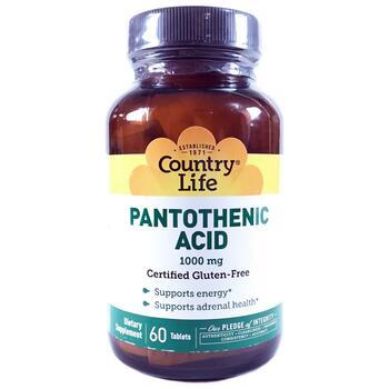 Купить Country Life Pantothenic Acid 1000 mg 60 Tablets
