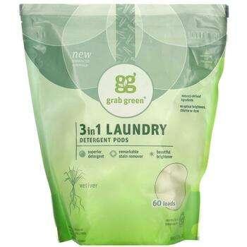 Купить GrabGreen 3 in 1 Laundry Detergent Vetiver 60 Loads 1080 g