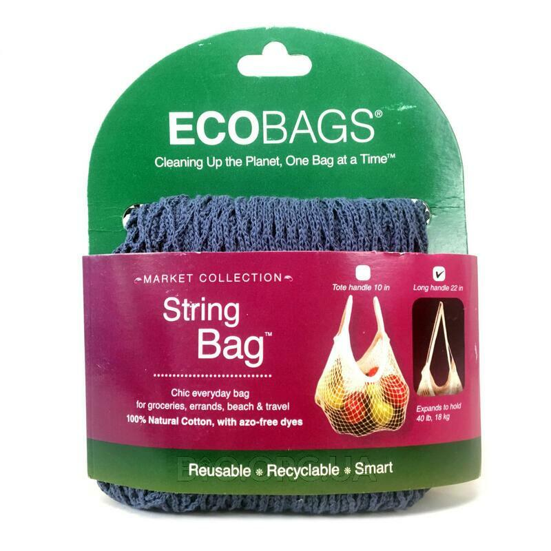 ECOBAGS Market Collection String Bag Long Handle 22 in Storm Blue 1 Bag