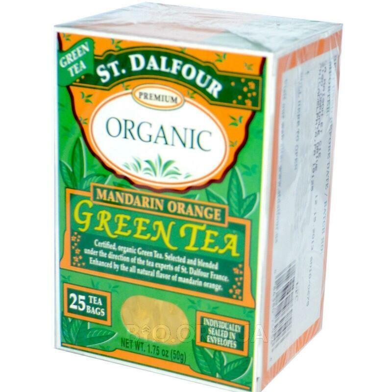 Dalfour Органический зеленый чай Мандарин 25 чайных пакетиков ... фото товара
