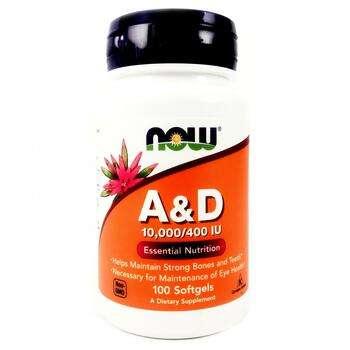 Купить Now Foods A&D Essential Nutrition 10000/400 IU 100 Softgels