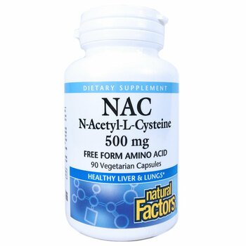 Купить Natural Factors NAC N-Acetyl-L Cysteine 500 mg 90 VegetarianCa...