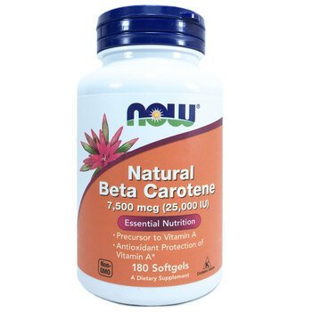 Купить Now Foods Natural Beta Carotene 25000 IU 180 Softgels