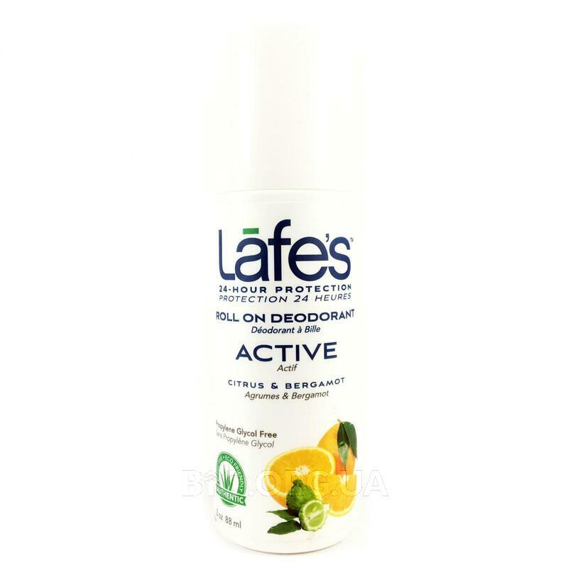 Lafes Natural Body Care Roll On Deodorant Active Ctirus Bergamot 71 g