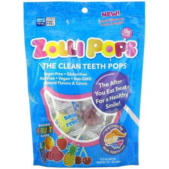 Купить ZollipopsThe Clean Teeth Pops Strawberry Orange Raspberry Cher...