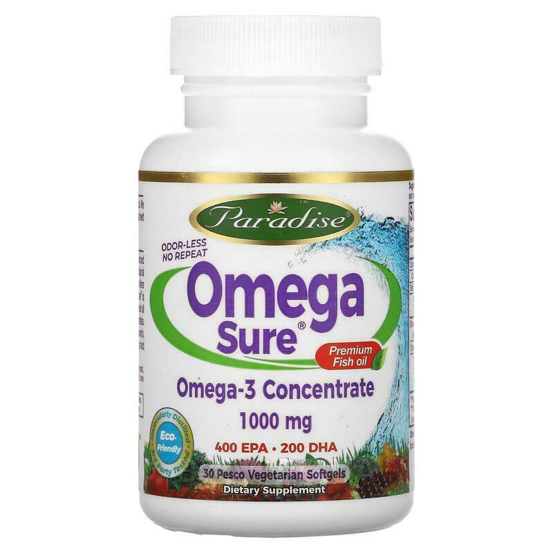 Omega Sure Омега-3 Рыбий жир премиум-класса 1000 мг 30 вегетар... фото товара