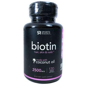 Купить Sports Research Biotin 2500 mcg 120 Veggie Softgels
